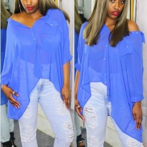 Tops - Oversized Button Down Blouse